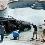Limpia su piscina y encuentra un coche dentro